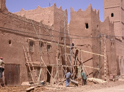 Restauration of the outer wall of Ksar El Khorbat in Tinejdad, South Morocco.