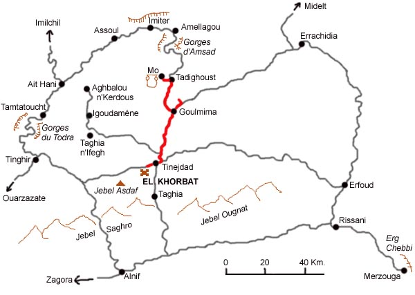 Map of the excursion to Goulmima and the Gheris valley.