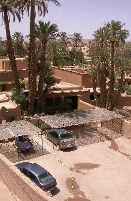 Parking of Guesthouse El Khorbat, south Morocco.