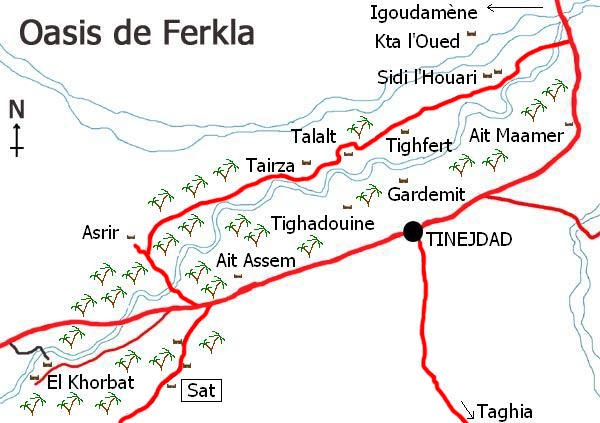 Map of the oasis of Ferkla in south Morocco.