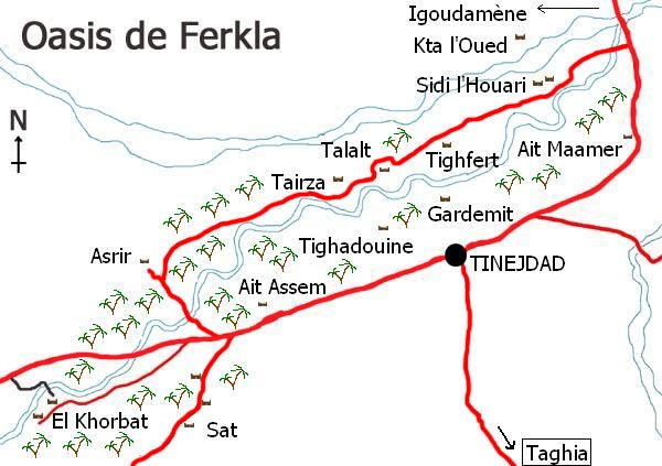 Map of Ferkla oasis in Tinejdad, south Morocco.