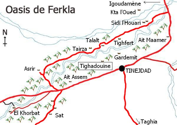 Map of the Ferkla oasis in Tinejdad, south Morocco.