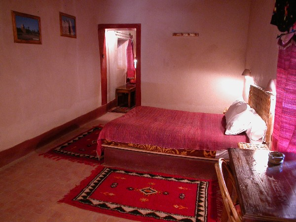 Room into the guesthouse Ksar El Khorbat, near Tinghir in South Morocco.