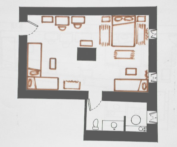 Plan of room into Ksar El Khorbat, near Tinghir in South Morocco.