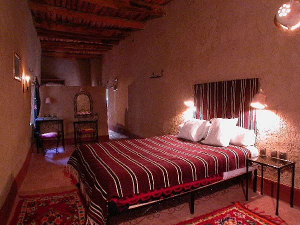 Room of guest house into Ksar El Khorbat, near Tinghir in South Morocco.