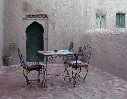 Guesthouse El Khorbat terrace in Todra valley, Morocco.