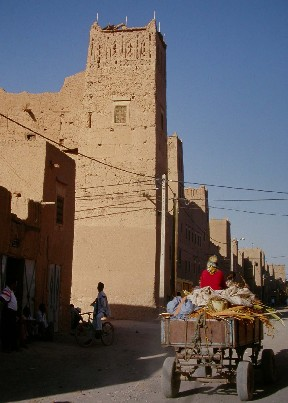 Tower in the wall of Ksar El Khorbat, south Morocco.
