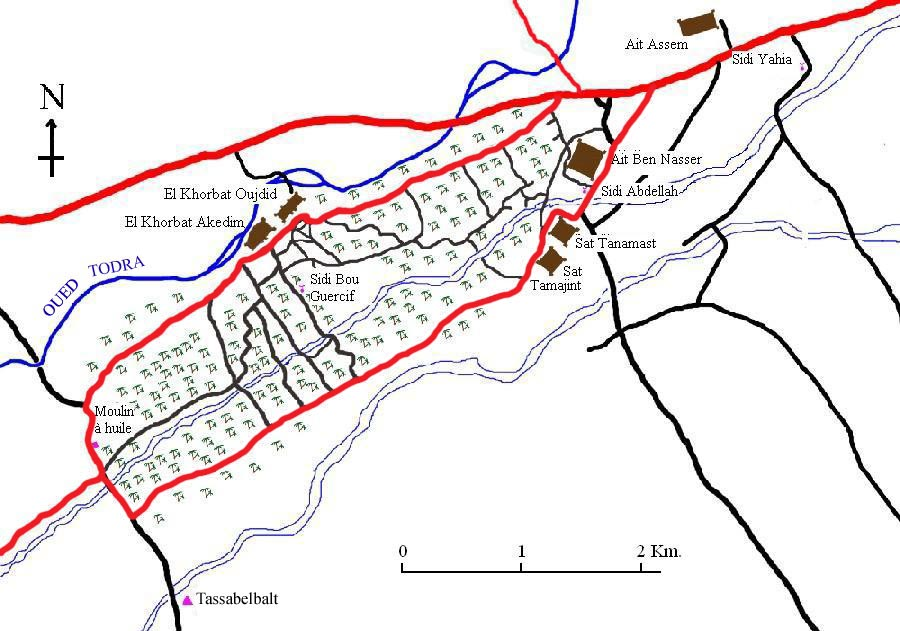 Map of El Khorbat palm grove to walk.