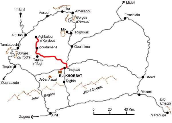 Map of the excursion from Tinejdad to Aghbalou n'Kerdous.