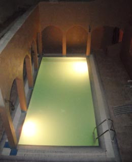 Swimming pool in guesthouse of Ksar El Khorbat, Morocco.
